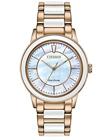 Eco-Drive Women's Chandler Rose Gold-Tone Stainless Steel & White Ceramic Bracelet Watch 36mm