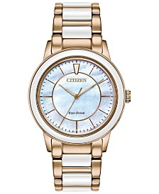 Citizen Eco-Drive Women's Chandler Rose Gold-Tone Stainless Steel & White Ceramic Bracelet Watch 36mm