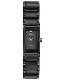 Citizen Eco-Drive Women's Axiom Black Stainless Steel Bracelet Watch 15mm