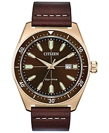 Eco-Drive Men's Brycen Brown Leather Strap Watch 43mm