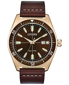 Citizen Eco-Drive Men's Brycen Brown Leather Strap Watch 43mm
