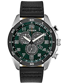 Drive From Citizen Eco-Drive Men's Chronograph LTR Black Leather Strap Watch 45mm