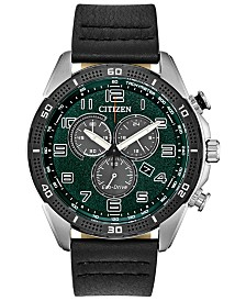 Citizen Drive From Citizen Eco-Drive Men's Chronograph LTR Black Leather Strap Watch 45mm