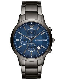 Emporio Armani Men's Chronograph Gunmetal Stainless Steel Bracelet Watch 43mm