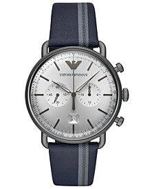 Men's Chronograph Blue Leather Strap Watch 43mm
