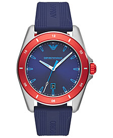 Emporio Armani Men's Blue Silicone Strap Watch 44mm