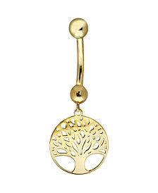 Bodifine 9 Carat Gold Tree of Life Belly Bar