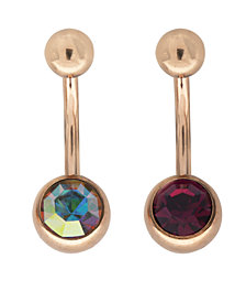 Bodifine Stainless Steel Pair of Crystal Belly Bars
