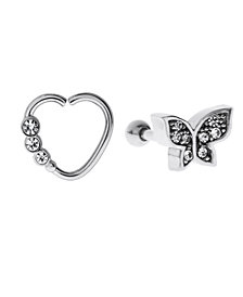 Bodifine Stainless Steel Set of 2 Crystal Tragus and Hoop