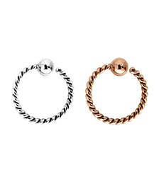 Bodifine Stainless Steel Set of 2 Colors Cartilage Rings