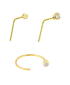 Bodifine 9 Carat Gold Set of 3 Cz Nose Studs and Hoop