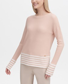 Calvin Klein Striped-Hem Crewneck Sweater