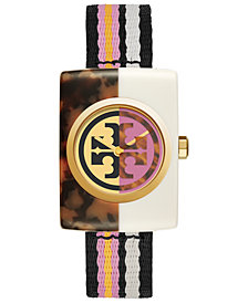 Tory Burch Women's Automatic Edie Multicolor Nylon Strap Watch 32mm