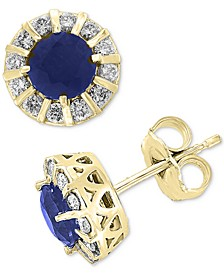 EFFY® Sapphire (1-1/8 ct. t.w.) & Diamond (1/3 ct. t.w.) Stud Earrings in 14k White Gold (Also available in Emerald, Certified Ruby & Tanzanite)