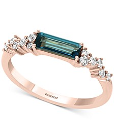 EFFY® London Blue Topaz (5/8 ct. t.w.) and Diamond (1/5 ct. t.w.) Ring in 14k Rose Gold
