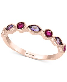 EFFY® Amethyst (1/4 ct. t.w.) and Ruby (1/4 ct. t.w.) Stackable Ring in 14k Rose Gold (Also available in Citrine with Peridot in 14k Yellow Gold)
