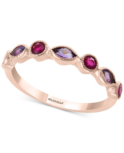 EFFY Collection EFFY® Amethyst (1/4 ct. t.w.) and Ruby (1/4 ct. t.w.) Stackable Ring in 14k Rose Gold (Also available in Citrine with Peridot in 14k Yellow Gold)