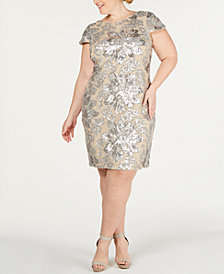 Calvin Klein Plus Size Cap-Sleeve Cowl-Neck Sheath Dress
