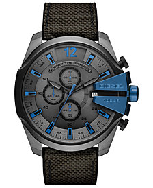 Diesel Men's Chronograph Mega Chief Gray Nylon Strap Watch 51mm