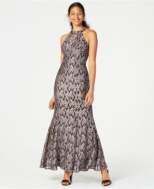 Nightway Glitter-Lace Keyhole Gown