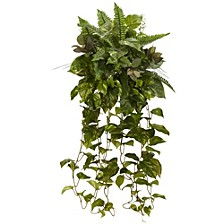 "36"" Mixed Greens Hanging Artificial Plant, Set of 2"