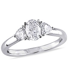 Certified Diamond (7/8 ct. t.w.) Oval Shape 3 Stone Engagement Ring in 14k White Gold