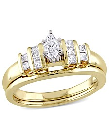 Certified Diamond (1/2 ct. t.w.) Marquise and Princess-Shape Bridal Set in 14k Yellow Gold