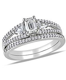 Certified Diamond (1 ct. t.w.) Emerald-Shape 3-Stone Bridal Set in 14k White Gold
