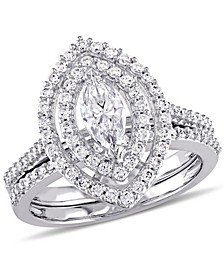 Certified Diamond (1 ct. t.w.) Marquise-Shape Double Halo Bridal Set in 14k White Gold