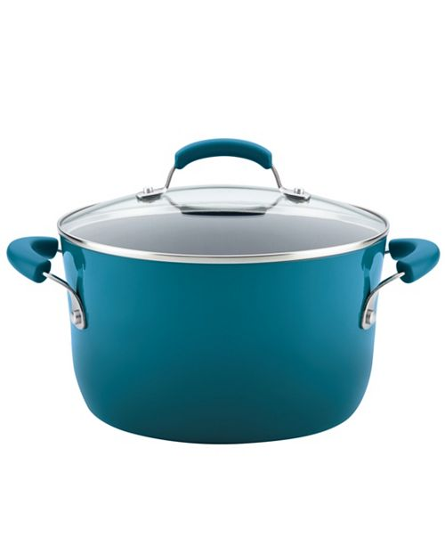 Rachael Ray Classic Brights 6-Quart Hard Enamel Nonstick Covered Stockpot