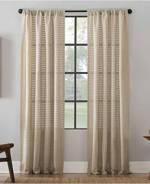 "Clean Window Modern Check Pattern Anti-Dust Curtain Panel, 52"" x 95"""