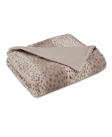 "Vellux Faux Fur Light Brown Leopard Throw, 50""x60"""