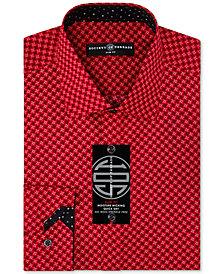 Society of Threads Men's Slim-Fit Non-Iron Performance X-Check Dress Shirt