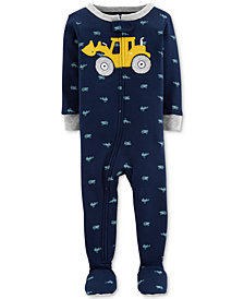 Carter's Toddler Boys 1-Pc. Tractor-Print Footed Cotton Pajamas