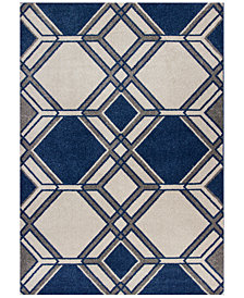 "KAS Lucia Grant 2768 Ivory/Denim 3'3"" x 4'11"" Indoor/Outdoor Area Rug"