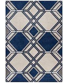 "KAS Lucia Grant 2768 Ivory/Denim 5'3"" x 7'7"" Indoor/Outdoor Area Rug"
