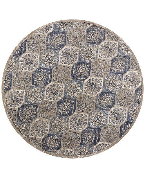 "Kas Seville Mosaic 9451 Pewter 7'7"" Round Area Rug"