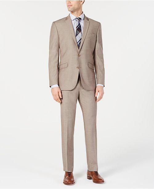 Kenneth Cole Reaction Men's Techni-Cole Slim-Fit Stretch Tan Suit