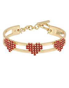 BCBGeneration Red Stone Multi Heart Toggle Cuff Bracelet