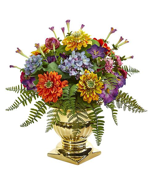 "Nearly Natural 14"" Mixed Floral Artificial Arrangement in Gold Urn"