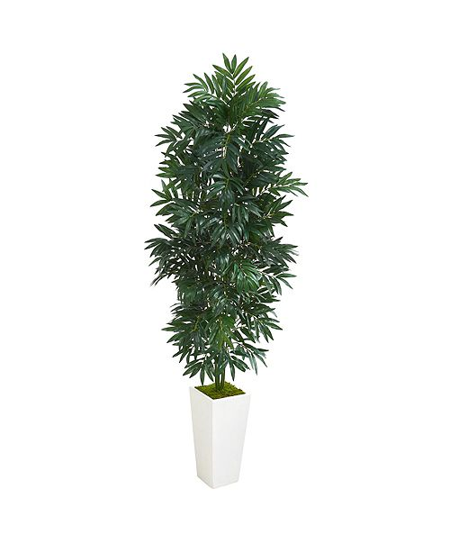 Nearly Natural 5' Bamboo Palm Artificial Plant in White Planter