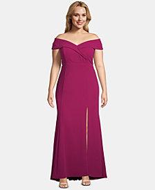 Xscape Plus Size Off-The-Shoulder Slit Gown