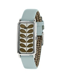 Orla Kiely Watch, Sky Blue Leather Strap With Buckle Closure