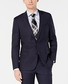 HUGO by Hugo Boss Men's Modern-Fit Wool Navy Plaid Suit Jacket