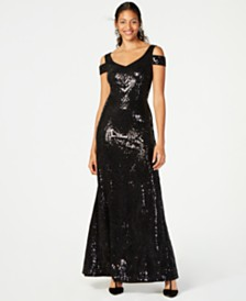Calvin Klein Sequined Cold-Shoulder Gown