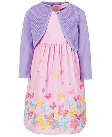 Good Lad Little Girls 2-Pc. Printed Dress & Cotton Cardigan Set