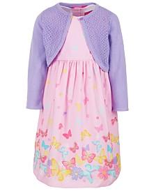 Good Lad Toddler Girls 2-Pc. Printed Dress & Cotton Cardigan Set