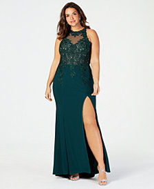 XSCAPE Plus Size Gold-Embroidered Gown