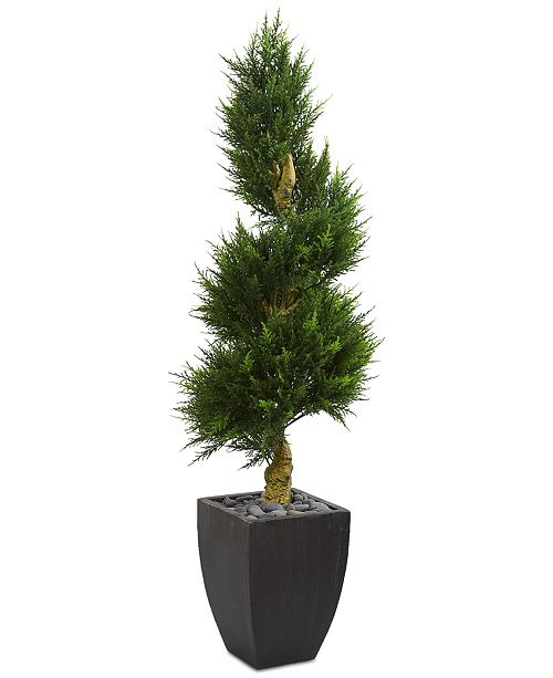 Nearly Natural 5.5' Cypress Spiral Artificial Tree in Black Wash Planter UV Resistant