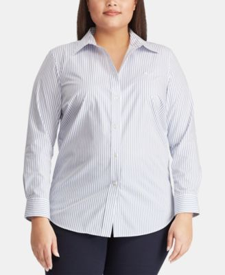 Plus Size Non-Iron Striped Shirt